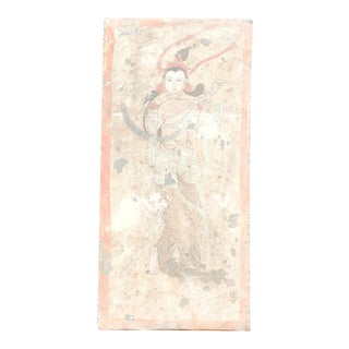 Stunning Hand-Painted Liao Dynasty Style Mural Tile For Sale