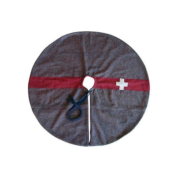 Custom Swiss Wool Blanket Christmas Tree Skirt - Image 2 of 6