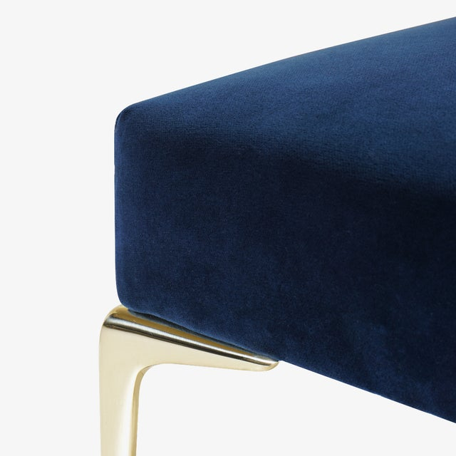Metal Colette Petite Brass Ottomans in Navy Velvet by Montage, Pair For Sale - Image 7 of 8