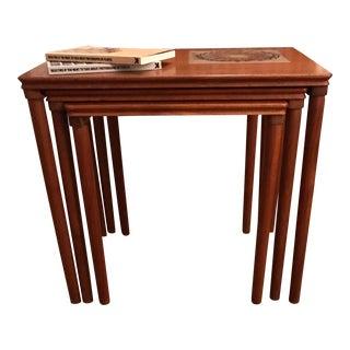 Scandinavian Modern Mahogany Nesting Tables - Set of 3