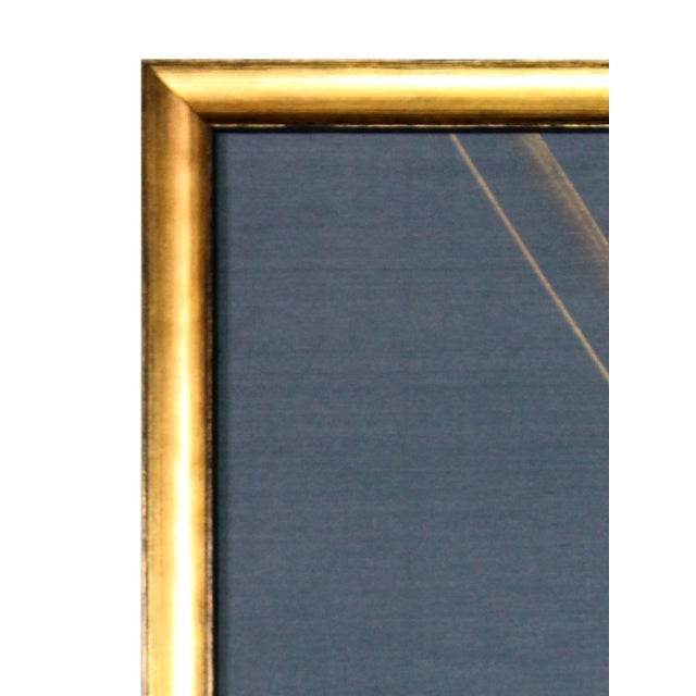 Gold Leaf Metallic Gold Paint on Blue Silk Chinoiserie Diptych Paintings - 2 Pieces For Sale - Image 7 of 8