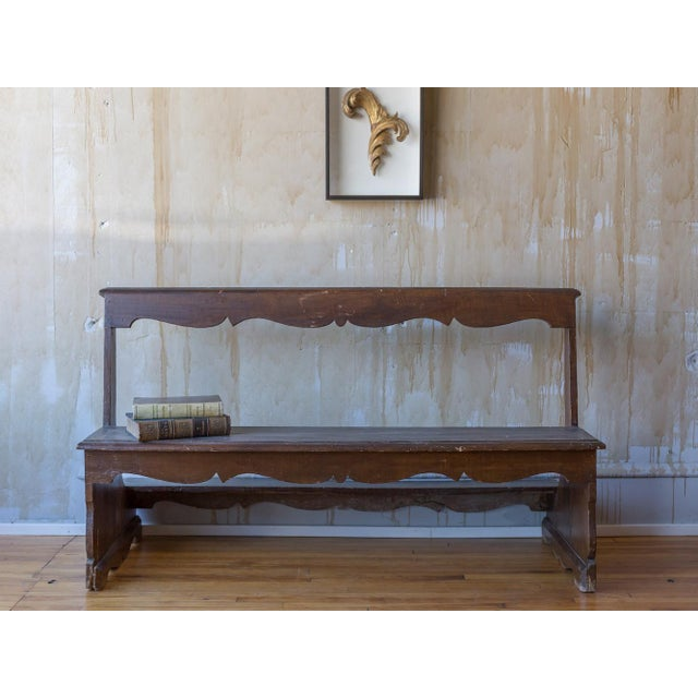 Rustic Italian Antique Church Pew For Sale - Image 3 of 12