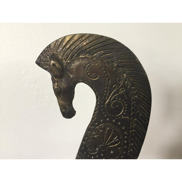 Mid-Century Modern Bronze Etruscan Horse Sculpture For Sale - Image 4 of 7