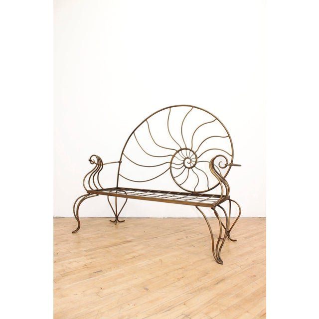 Bronze Hand Forged Louis XV Nautilus Bench- Vintage Wrought Iron Settee W/ Bronze Patina For Sale - Image 7 of 7