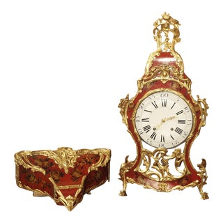 18th Century French Louis XV Cartel Clock, Vernis Etienne Simon Martin For Sale