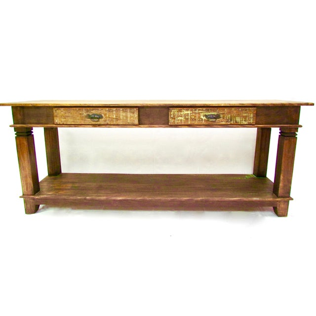 Antique console table eco friendly reclaimed solid wood