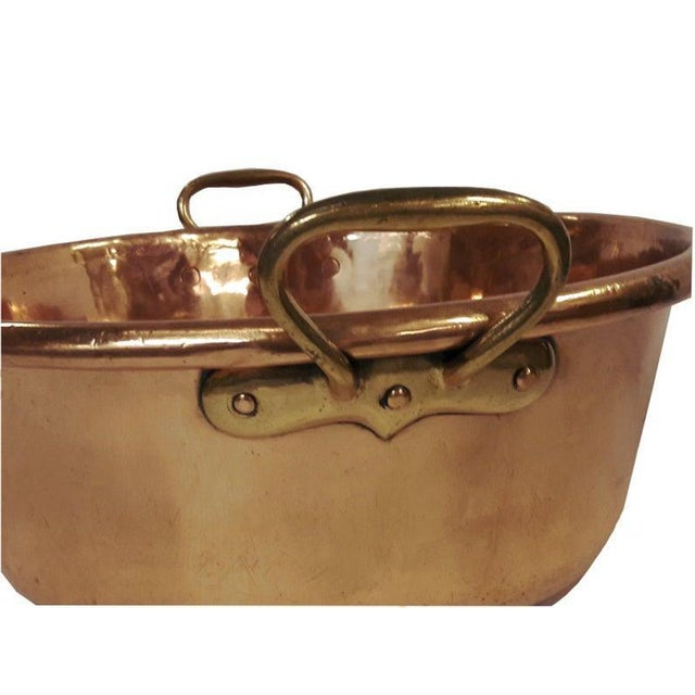 Magnificent very large hand crafted French copper basin/confisier, Solid thick copper with deep rolled edges, (weight 7.5...
