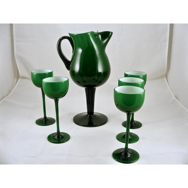 Mid-Century Modern Carlo Moretti Mid Century Green and White Cased Pedestal Pitcher and 5 Wine Glasses For Sale - Image 3 of 9