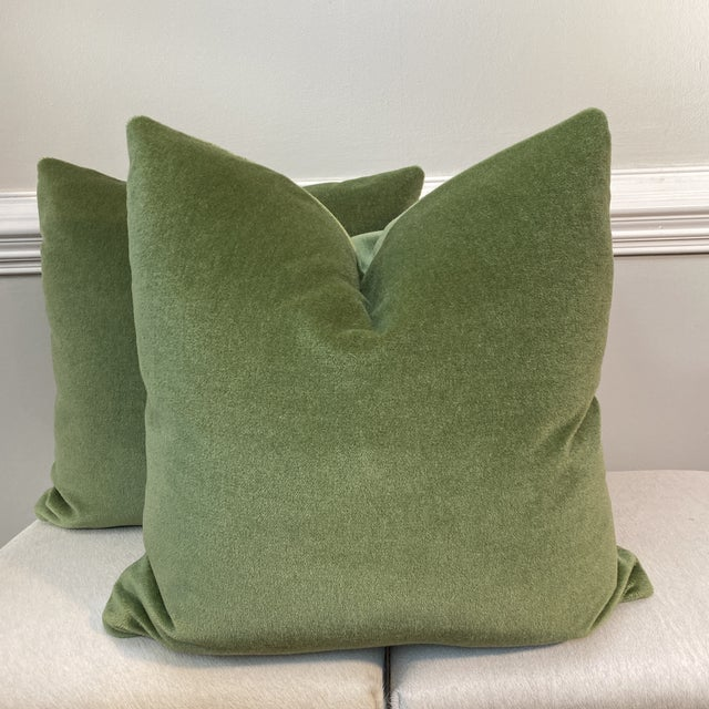 """2010s Brunschwig & Fils """"Autun Mohair Velvet"""" in Leaf 22"""" Pillows- a Pair For Sale - Image 5 of 5"""