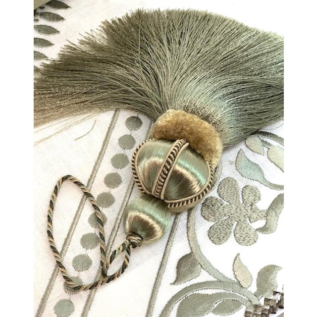 Wood Olive Green Key Tassels With Cut Velvet Ruche - a Pair For Sale - Image 7 of 11