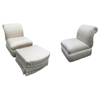 Early 21st Century Vintage Scalamandre Upholstered Chairs & Ottoman- 3 Pieces For Sale