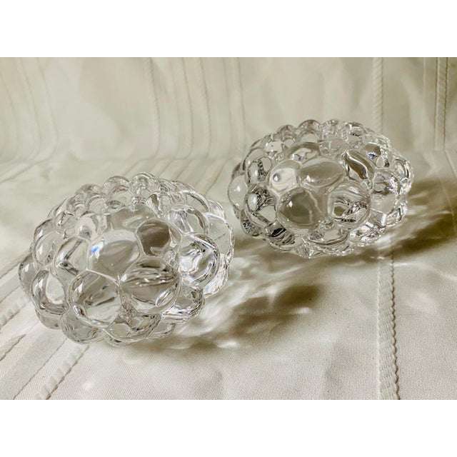 1980s Orrefors Kosta Boda Raspberry Bubble Crystal Tea Votive Candle Holders - a Pair For Sale - Image 5 of 5