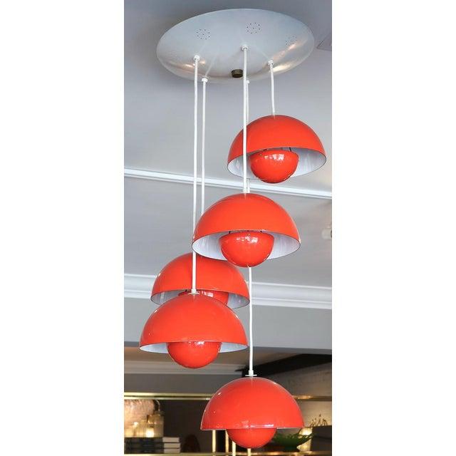 1970s Big Flower Pot chandelier in red metal with five lights, by Verner Panton.