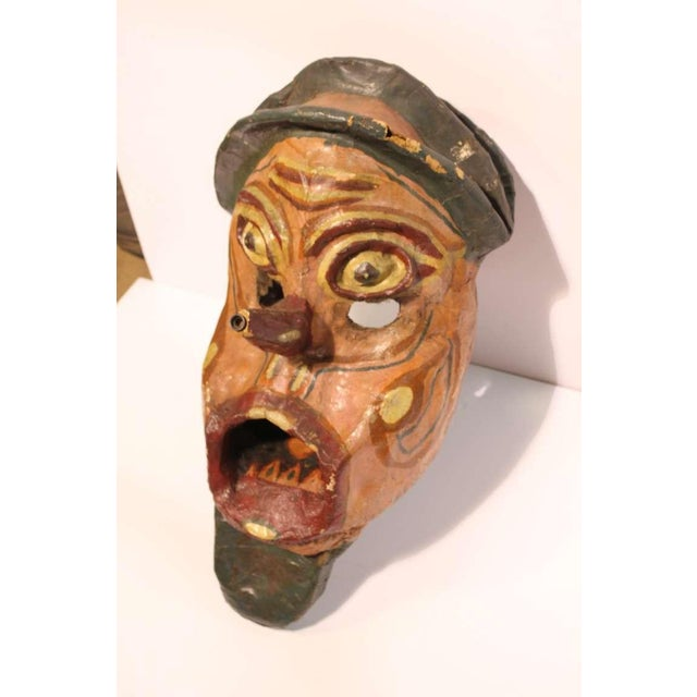 Large early 1900's hand painted paper mache carnival head.
