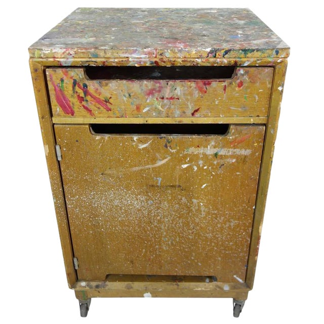Paint Splattered Cabinet From an Artist Studio For Sale