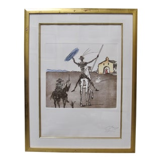 "Salvador Dali Hand-Signed Don Quixote Etching Aquatint ""Impossible Dream"" Albert Fields Certified For Sale"