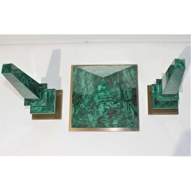 Vintage Claude De Muzac Malachite Pyramid & Obelisks - Set of 3 For Sale In West Palm - Image 6 of 13