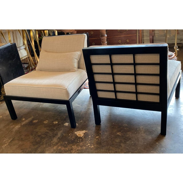 Asian Mid Century Asian Modern Black Slipper Chairs - a Pair For Sale - Image 3 of 11