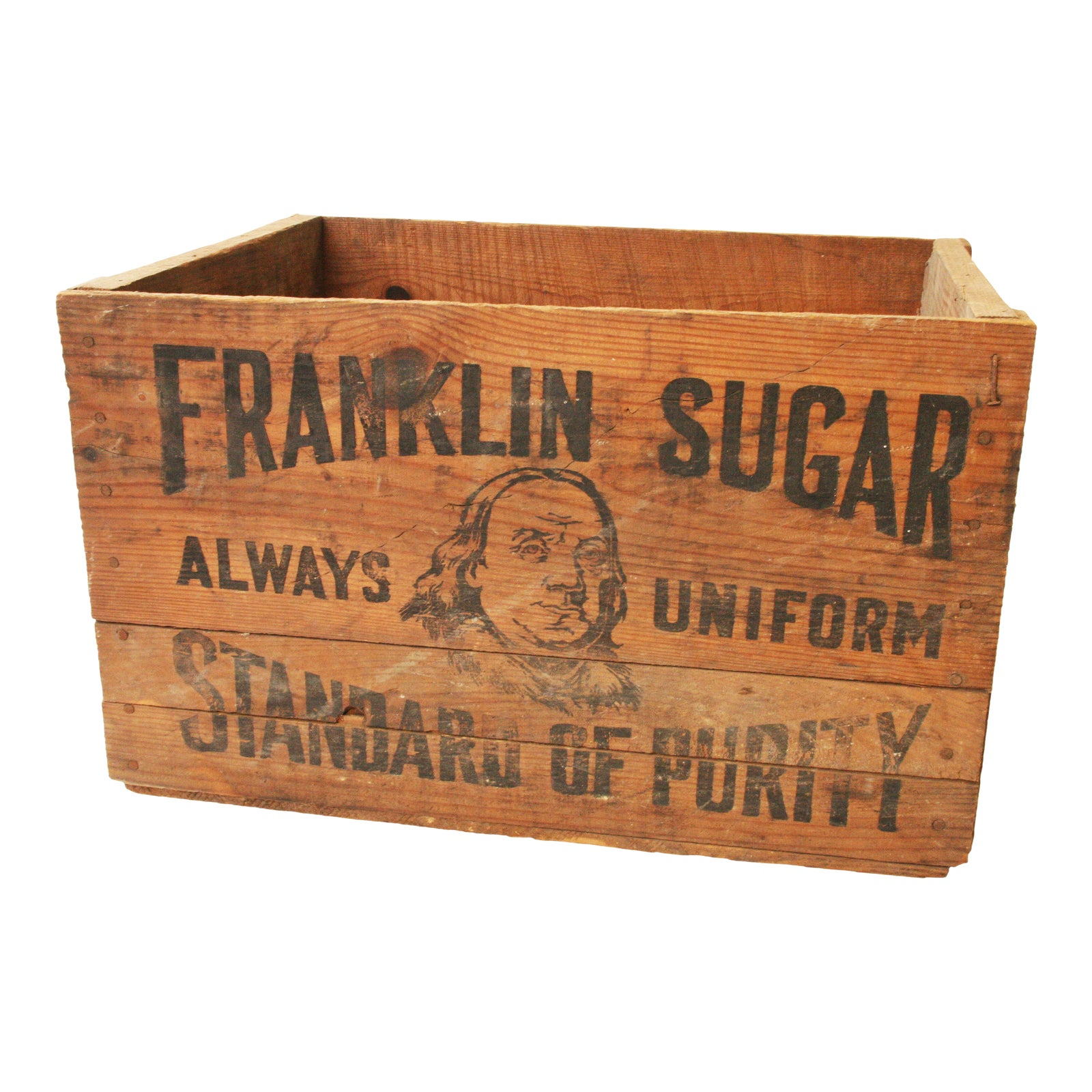 Vintage Benjamin Franklin Sugar Industrial Wood Shipping Crate - Chairish