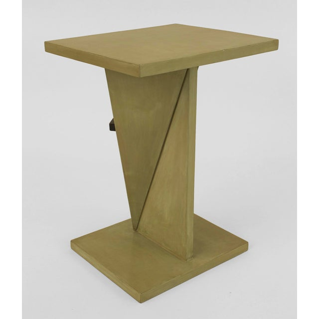 Art Deco French Art Deco Ebonized And Light Green Lacquered End Table For Sale - Image 3 of 6