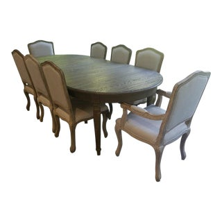72-92 Inch Restoration Hardware Vintage French Empire Fluted Leg Dining Set and Vintage Camelback Chairs