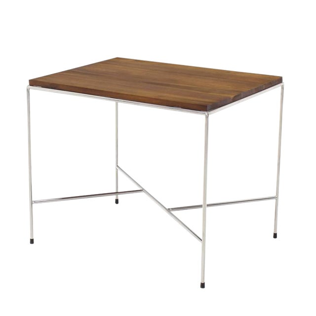 Durable, all about slick lines, minimalistic mid-century modern decor end or side table has a nice heft to it. Solid oiled...