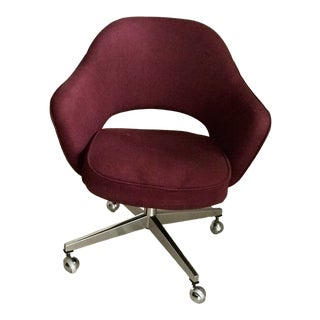 1960s Vintage Maroon Saarinen Knoll Executive Armchair For Sale