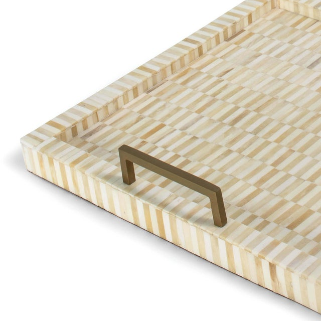 Nevis Square Multi-Tone Bone and Brass Tray For Sale - Image 4 of 6