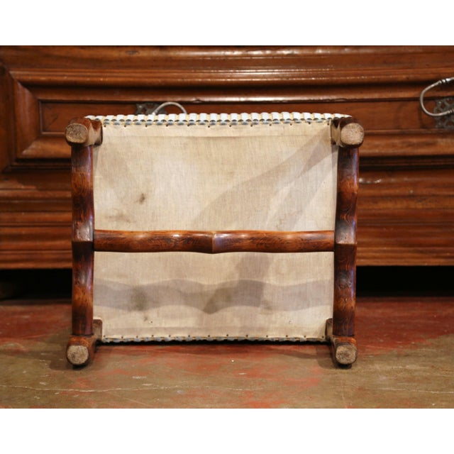 Gold Early 20th Century French Louis XIII Carved Mutton Bone Stool With Stripe Velvet For Sale - Image 8 of 9