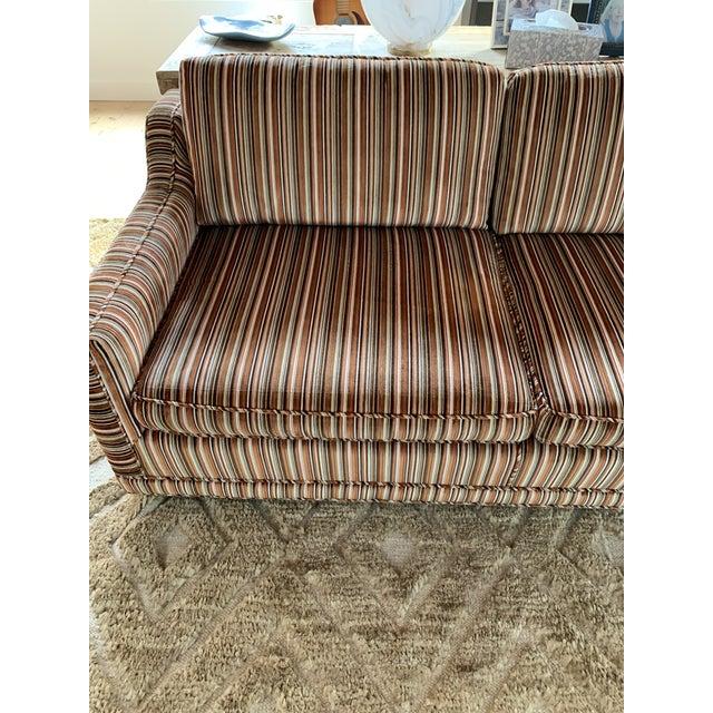 Mid-Century Modern 1970s Velvet Striped Couch- Original Upholstery For Sale - Image 3 of 7