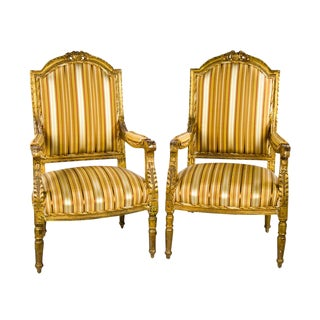Late 19th Century Antique French Louis XVI Style Giltwood Fauteuil Chairs- A Pair For Sale