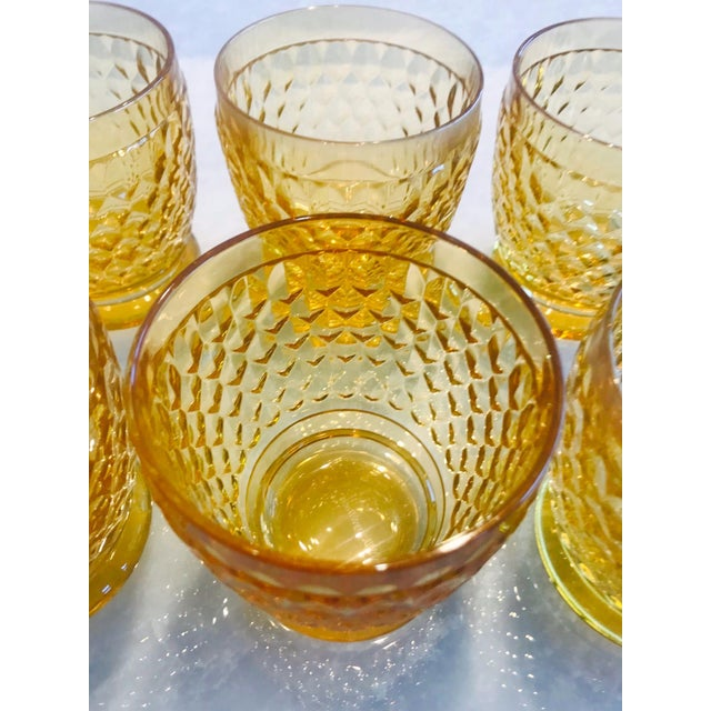 Set of Seven Vintage Villeroy & Boch Crystal Highball Glasses in Amber For Sale - Image 11 of 13