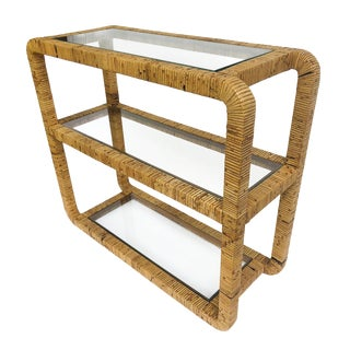 Vintage Rattan Wrapped Console / Bookcase