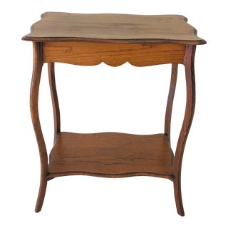 Antique French Oak Side Table With Cabriole Legs For Sale