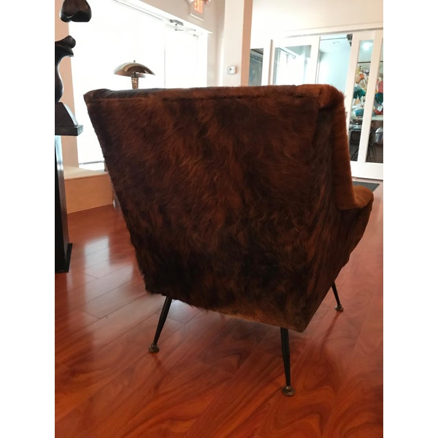 Animal Skin Italian Mid-Century Modern Club Chairs Covered in Cowhide - a Pair For Sale - Image 7 of 13