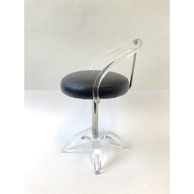 Acrylic Polish Nickel and Lucite Swivel Vanity Stool by Charles Hollis Jones For Sale - Image 7 of 9