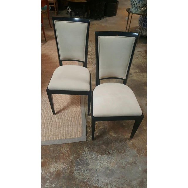 1940s French Midcentury chairs. Black wood with suede seat and back, mitered detail on back of chair.