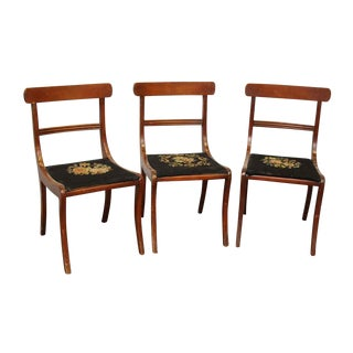 Cottage Needlepoint Floral Seats Dining Chairs - Set of 3 For Sale