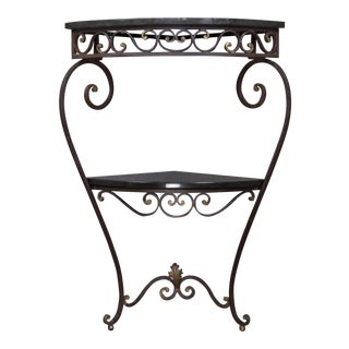 French 1940s Iron and Granite Corner Console For Sale