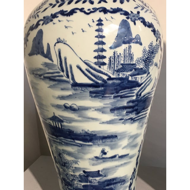 Ceramic Chinese Tall Blue and White Baluster Covered Porcelain Vases, circa 1900- A Pair For Sale - Image 7 of 8