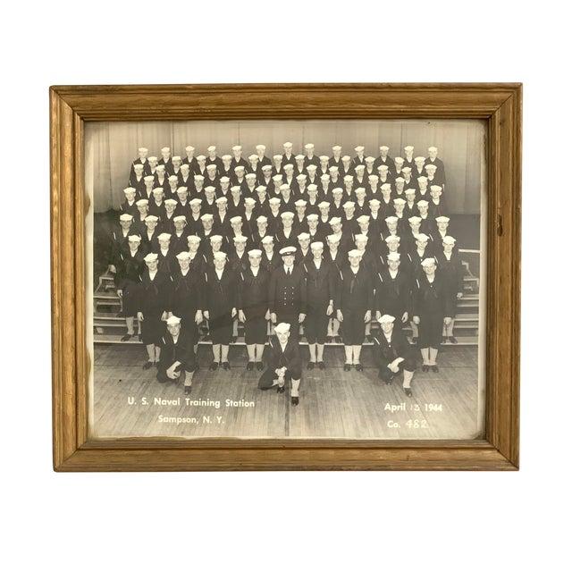 1940s Vintage Framed WWII US Navy Portrait Photograph For Sale