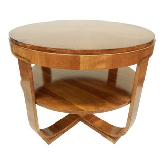 Art Deco Round Walnut Side Table For Sale