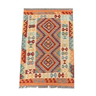 Vintage Geometric Multicolored Reversible All Wool Kilim Rug- 2′10″ × 4′2″ For Sale