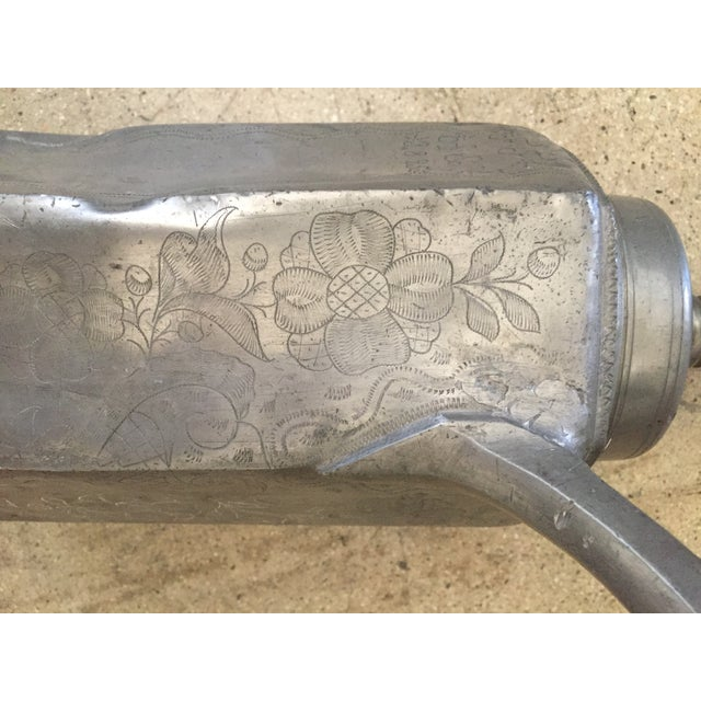 Silver Antique 1925 Floral Etched Oil Decanter For Sale - Image 8 of 13