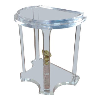 Demi Lune Lucite Console Table with Bronze Urn Finial For Sale