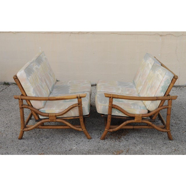 Bamboo Vintage Mid Century Ficks Reed 5 Pc. Rattan Tiki Set Bamboo Sofa Table Pair Chairs For Sale - Image 7 of 11