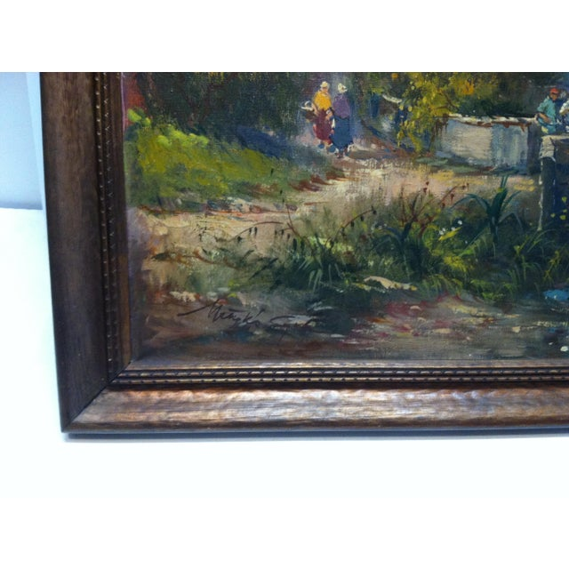 "Late 20th Century ""The Fisherman"" Framed Original Canvas Painting For Sale In Pittsburgh - Image 6 of 8"