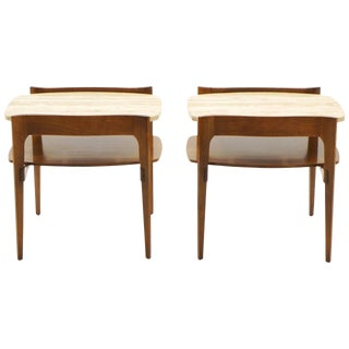 Bertha Schaefer End or Side Tables Walnut With Travertine Tops For Sale