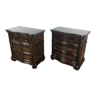 Vintage Dark Wood Three Drawer Nightstands - a Pair