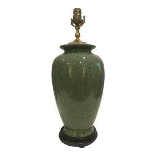 Celadon Crackle Urn Lamp For Sale